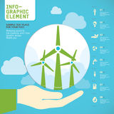 Wind turbine on hand Vector. Stock Photo