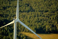 Wind turbine from height in the Swedish forest Stock Photos