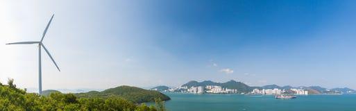 Wind turbine. On the hill of Lamma Island, Hong Kong Stock Image
