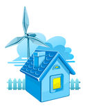 Wind turbine and house Stock Photography