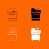 Multifunction printer or automatic copier black and white color set icon . Royalty Free Stock Images