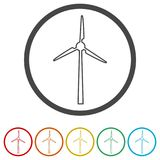 Wind turbine icon, eco concept, 6 Colors Included. Simple vector icons set Stock Image