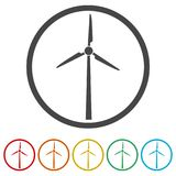 Wind turbine icon, eco concept, 6 Colors Included. Simple vector icons set Stock Photos