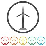 Wind turbine icon, eco concept, 6 Colors Included. Simple vector icons set Royalty Free Stock Photography