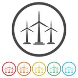 Wind turbine icon, eco concept, 6 Colors Included. Simple  icons set Royalty Free Stock Photography