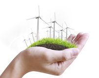 Wind Turbine In Hand Stock Photo
