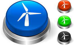 Wind Turbine on Internet Button Royalty Free Stock Photography
