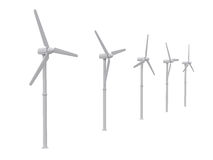 Wind turbine isolated on white backgroung, 3d rendering Royalty Free Stock Photos