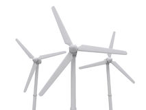 Wind turbine isolated on white backgroung, 3d rendering. Illustration Stock Images