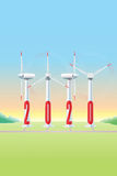 2020 Wind Turbine - JAK — Aerogerador. 2020, happy, new, year, happy, congratulations, peace, cheers, success, wind, turbine, electricity, energy, strength Royalty Free Stock Photos