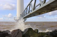 Wind turbine jetty Royalty Free Stock Photography