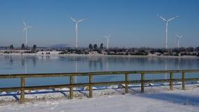 Wind turbine on lake stock footage