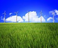 Wind turbine and landscape Stock Photos