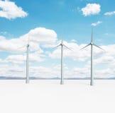 Wind turbine. Landscape with big eco wind turbine Stock Photo