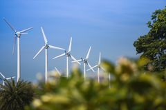 Wind turbine landscape natural energy green Eco power concept at wind turbines farm blue sky stock photography