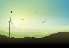 Wind turbine landscape Royalty Free Stock Images