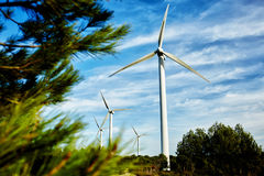 Wind turbine located in a field, windmill standing outside the city, electric generator against cloudy sky at day, Stock Images