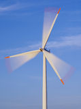 Wind turbine in motion. Trick shot Royalty Free Stock Image