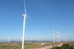 Wind turbine on mountain in thailand Royalty Free Stock Images