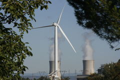 Wind Turbine & nuclear cooling tower Royalty Free Stock Photos