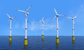 Wind turbine offshore. In a beautiful day - rendering stock illustration