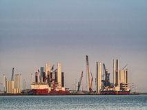 Wind turbine offshore vessels in Esbjerg harbor Stock Photography