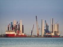 Wind turbine offshore vessels in Esbjerg harbor Stock Photo
