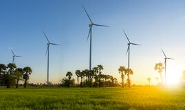 Free Wind Turbine Or Wind Power Translated Into Electricity, Environmental Protection Make The World Not Hot Royalty Free Stock Photography - 189510977