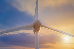 Wind Turbine over clouds Royalty Free Stock Images