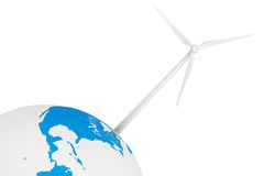 Wind Turbine over Earth Globe Stock Photo
