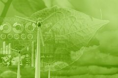 Wind turbine overlay with plant leaf and data infographic for eco green energy environmental friendly power technology data