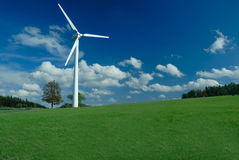 Wind turbine, panorama Royalty Free Stock Photos