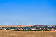Wind turbine park in Romania Stock Photos