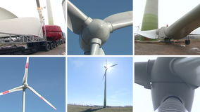 Wind turbine parts and assembly works. Clip collage. Wind turbine parts transportation and assembly works. Windmills spin in wind producing renewable stock video footage