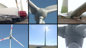 Wind turbine parts assembly works. Windmills spin. Video collage. Wind turbine parts transportation and assembly works. Windmills spin in wind producing stock video