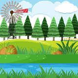 Wind turbine and pine trees on the hills. Illustration Royalty Free Stock Images