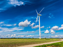 Wind turbine in polder, Netherlands Stock Images