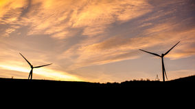Wind turbine power generator farm at sunset, Georgia Royalty Free Stock Photo