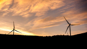 Wind turbine power generator farm at sunset, Georgia Royalty Free Stock Photography