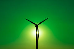 Wind turbine power generator - Green Power Concept. Wind turbine power generator  - background GREEN POWER concept ecosystem for design - symmetrical composition Stock Images