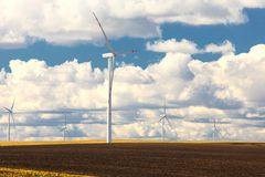 Wind turbine power generator renewable energy production royalty free stock photo