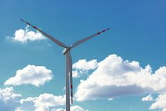 Wind turbine power generator renewable energy production. Protection of nature. Wind turbine eco power generator for renewable energy production. Alternative Stock Image