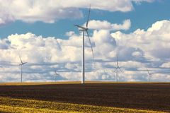 Wind turbine power generator renewable energy production Royalty Free Stock Photos