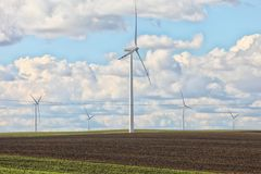 Wind turbine power generator renewable energy production stock photos
