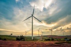 Wind turbine power generators on mountain Stock Photography