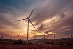 Wind turbine power generators on mountain Stock Image