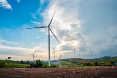 Wind turbine power generators on mountain Royalty Free Stock Images