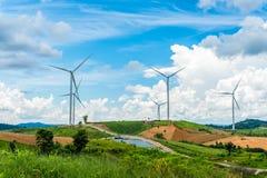 Wind turbine power generators on mountain Royalty Free Stock Photography