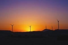 Wind turbine power generators. Wind farm. Stock Photo