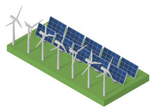Wind turbine power. Isometric clean energy concept Royalty Free Stock Photo